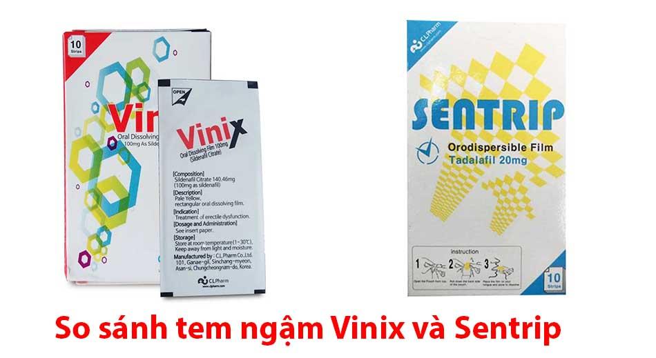 So sánh tem ngậm Vinix và Sentrip